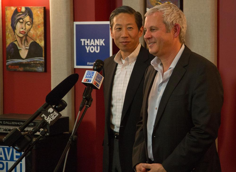 KPLU general manager Joey Cohn (right) and Stephen Tan (left)